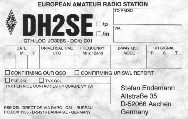 Previous QSL card